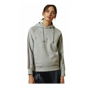Ted Baker Yinzie Embroidered Logo Stripe Hoodie Heather Gray S